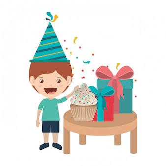 Boy with party hat in birthday celebration