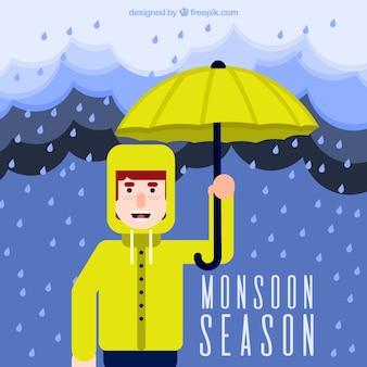 비옷과 우산을 가진 소년