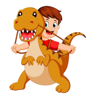 Boy with the red cloth using the tyrannosaurus rex costume and pull the rope