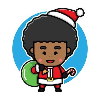 Boy with santa costume cartoon vector christmas concept illustration