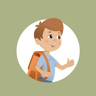 Boy with a school bag and thumb up. like back to school.