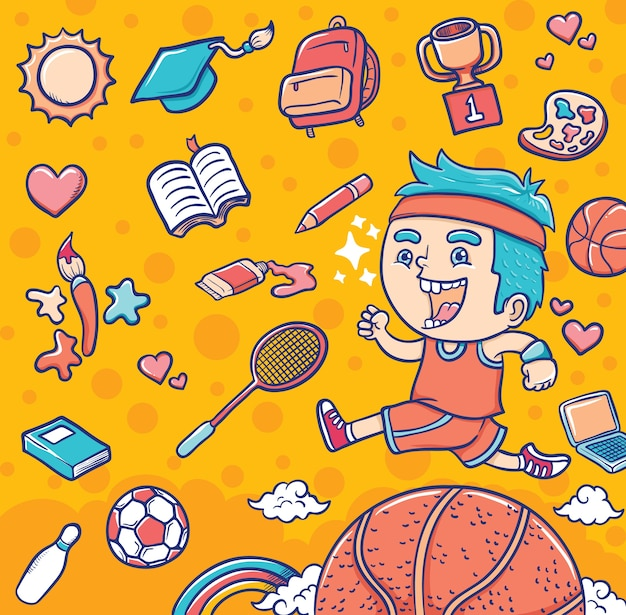 Boy with sport and education equipments