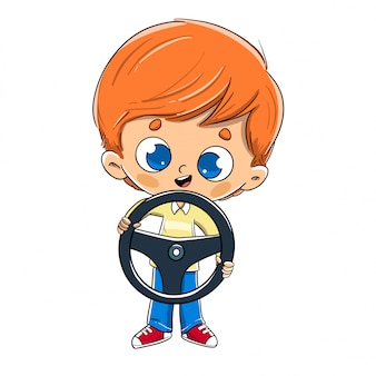 Boy with a steering wheel in his hand driving