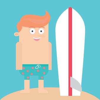 サーフィンボード、漫画、ベクトル、イラスト