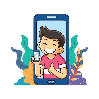 計画とスマートフォンを持つ少年