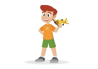 おもちゃ飛行機の少年。