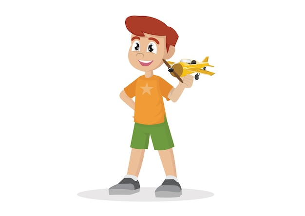 Boy with toy airplane.