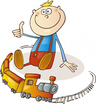 列車の漫画の少年