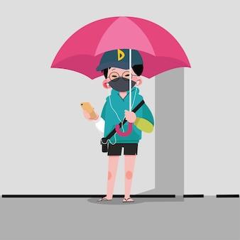 Мальчик с зонтиком, мужской персонаж мультфильма