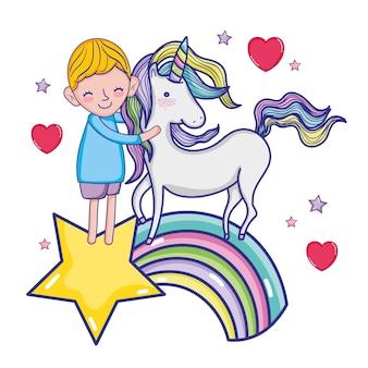 Boy with unicorn
