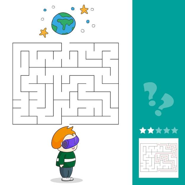 Мальчик с гарнитурой vr в космосе. игры-лабиринты находят путь. векторная иллюстрация. vr космические сцены.