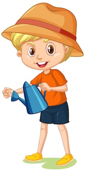 Boy with watering can isolated