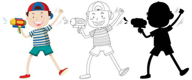 Boy with watering gun in color and outline and silhouette