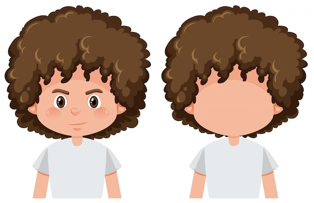 Boy with and without face