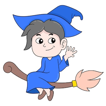Boy wizard flying on a magic broom. doodle icon kawaii.