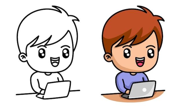 아이들을 위한 노트북 색칠 공부를 하는 소년