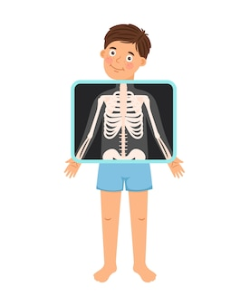 Boy x-ray. cartoon kid patient xray, naked child skeleton bones snapshot for clinic doctor vector illustration