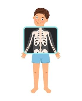 少年x線。漫画の子供の患者のx線、クリニックの医師のベクトル図の裸の子供の骨格の骨のスナップショット