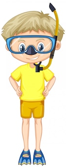 Boy in yellow shirt with snorkel and fins