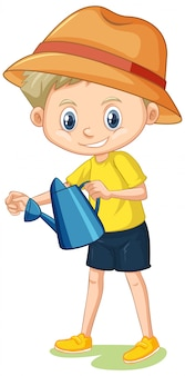 Boy in yellow shirt with watering can on white