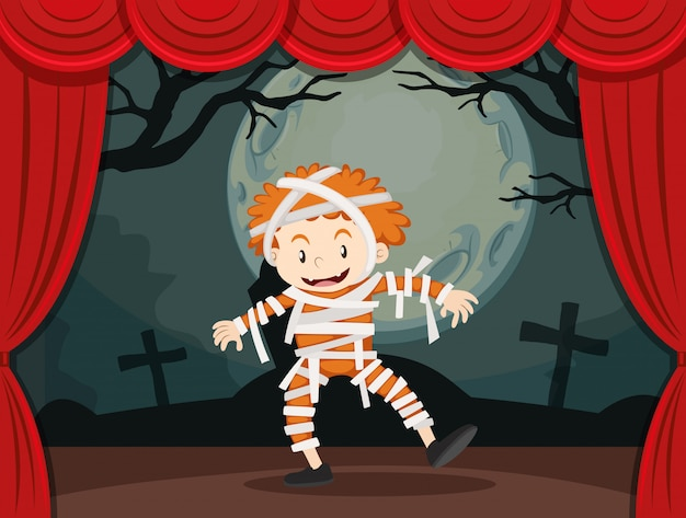 Boy in zombie costume on stage