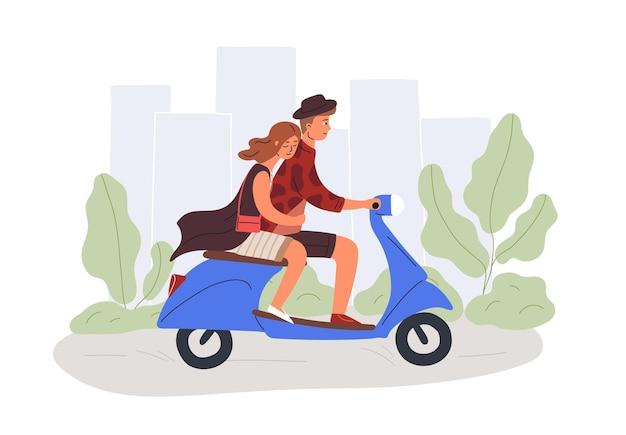 Парень и подруга езда скутер плоской иллюстрации. мужские и женские герои мультфильмов на романтическом свидании