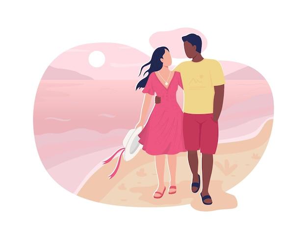 ボーイフレンドとガールフレンドがビーチで歩く2dwebバナー、ポスター