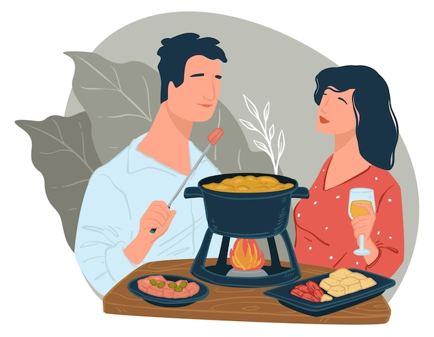 Boyfriend and girlfriend cooking and eating chinese hot pot in restaurant. man and woman talking and eating delicious meal. lady drinking wine or champagne with husband. vector in flat style