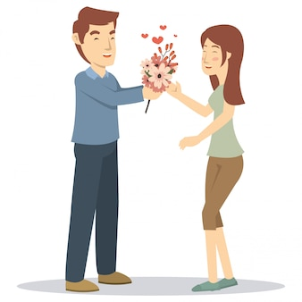 A boyfriend give a gift for his girlfriend in valentine day