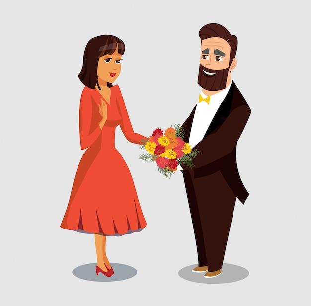 ボーイフレンド挨拶ガールフレンドフラットイラスト。