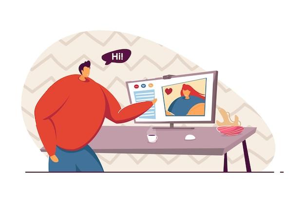Парень, имеющий видеоконференцию с подругой. мужчина приветствует женщину на экране компьютера плоской векторной иллюстрации. любовь, отношения на расстоянии, концепция коммуникации для баннера, дизайн веб-сайта