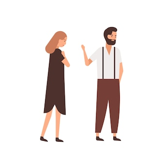 Парень покидает подругу плоскую векторную иллюстрацию. подавленная женщина после персонажей мультфильма равнодушный партнер. муж прощается, прощальный жест с женой. концепция распада пары.