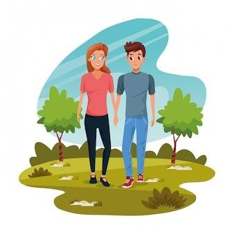 Boyfriends walking in the nature