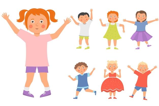 소년 소녀들은 어린 시절 야외에서 노는 재미있는 아이들 세트를 행복하게 함께 놀고 있습니다.