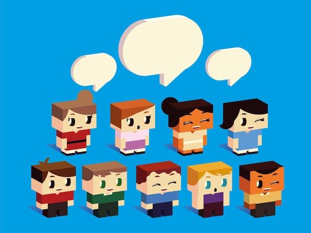Мальчики и девочки персонажи мультфильмов говорящие речи пузыри, изометрический стиль векторные иллюстрации