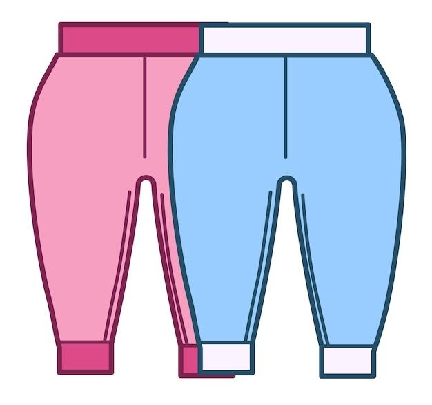 Мальчики и девочки модной одежды, изолированные значок пары хлопчатобумажных брюк для детей. розовые и синие брюки, пижамы или комбинезон для детей. одежда и снаряжение для новорожденных. вектор в плоском стиле