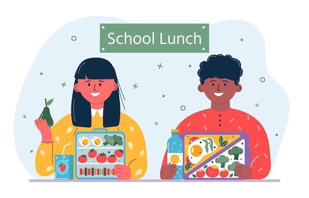 朝食または昼食をとっている男の子と女の子。子供、食べる人、健康的な食べ物を飲む人、飲み物。食事、ハンバーガー、サンドイッチ、ジュース、スナック、果物、野菜と子供たちの学校のお弁当箱。ベクトル