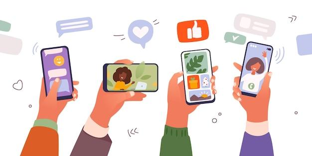 Мальчики и девочки держат смартфоны в чате и смотрят видео в интернете