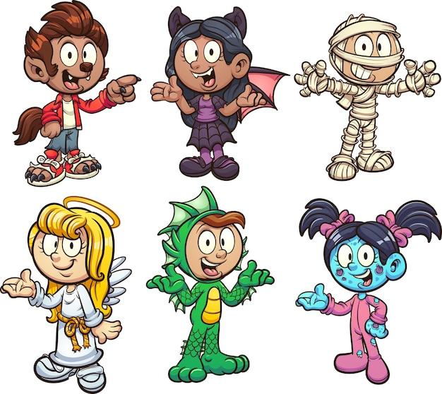 Мальчики и девочки в разных костюмах на хэллоуин