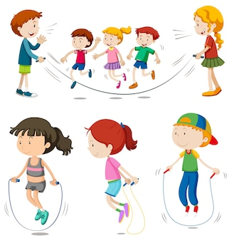 男の子と女の子がジャンプするロープ