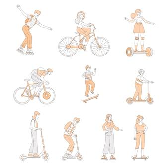 Юноши и девушки едут на современном личном транспорте. люди с роликовыми коньками, велосипедами, скейтбордами.
