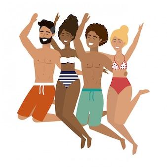 夏の水着を着た男の子と女の子