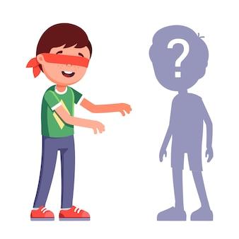 Мальчики играют в прятки. с завязанными глазами персонажа. перейти на ощупь в поисках друга. плоский характер иллюстрации.