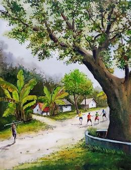소년은 수채화 손으로 그린 마을 장면 그림을 재생합니다