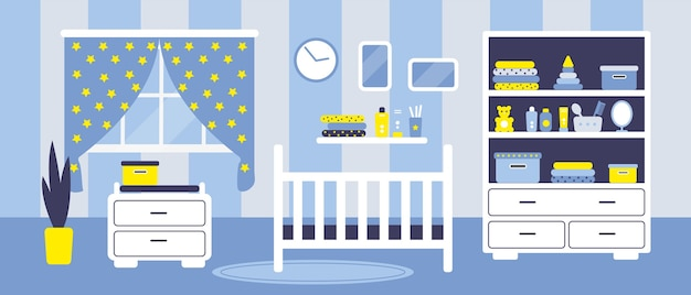Boys baby room with furniture.