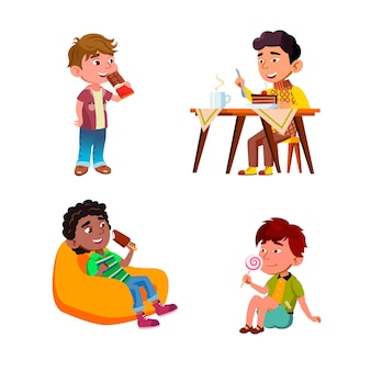 Boys children eating delicious sweets set vector. kids eat delicious chocolate and lollipop, ice cream and dessert cake with hot drink. characters tasty food flat cartoon illustrations
