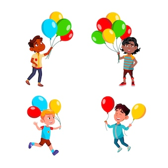 Boys children walking with air balloons set vector. multiracial kids walk, run and play with multicolored air balloons in park or on birthday party. characters leisure time flat cartoon illustrations
