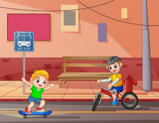 Boys cycling and skateboarding on road