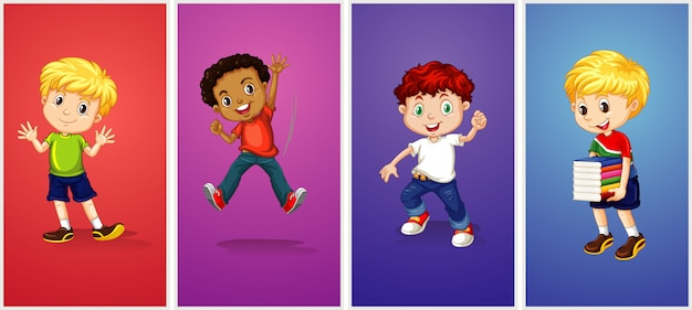 Boys on different color background