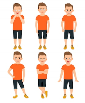 Boys different emotions vector illustration. shocked and wonder standing kid, surprised and unhappy boy expressions isolated